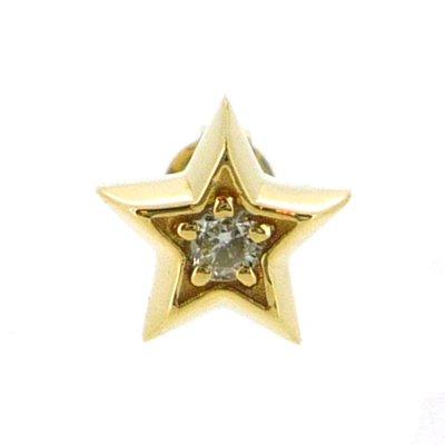 星のメンズピアス[K18イエローゴールド]スターライトピアス