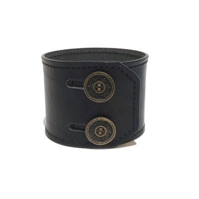 リリーボタン ダブルレザーブレスレット(ブラック)アークシルバーアクセサリーズ