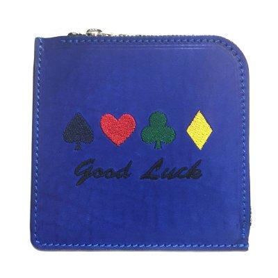 【トランプ柄】good luck ミニレザーウォレット(コバルトブルー)|Ark silver accessories